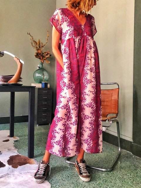 V Neck Women Floral Dresses Holiday Cotton Dresses