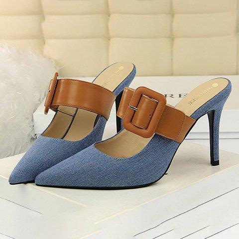 Denim Stiletto Heel Pointed Toe Heels Sandals