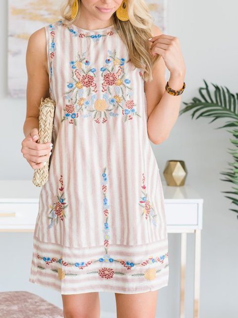 Crew Neck Women Dresses Going Out Boho Embroidered Dresses