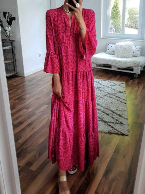 V Neck Women Dresses A-Line Daytime Leopard Print Dresses