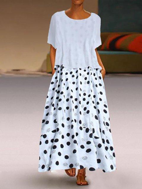 Dot-Intarsia Short Sleeve Dresses