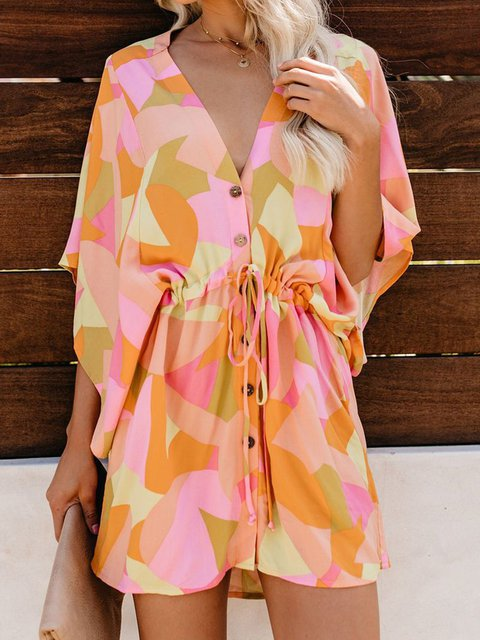 Printed Abstract Lace Up Plunging Neck Shift Holiday Cotton Dresses