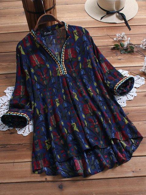 Printed Floral Dip-Dyed V Neck Shift Holiday Cotton Dresses