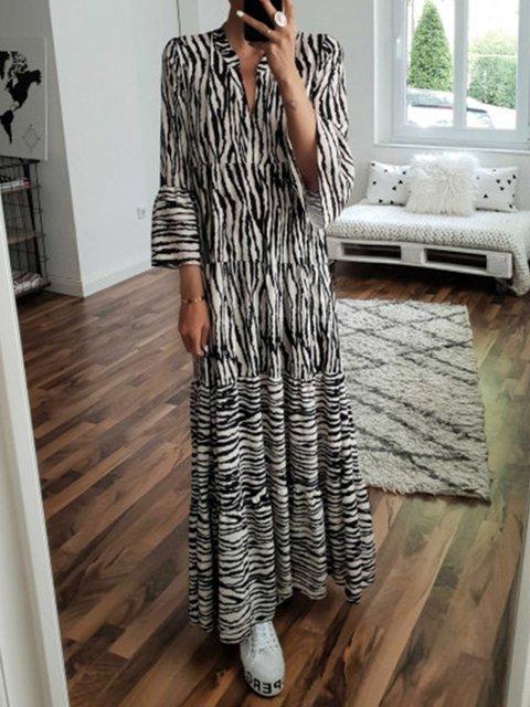V Neck Women Dresses Swing Daytime Boho Printed Dresses
