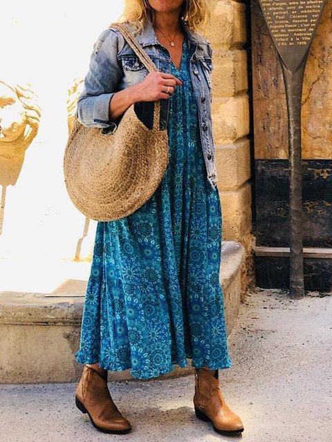 Shift Floral Boho Maxi Dresses Long Sleeve V Neck Blue Women Daily Dresses