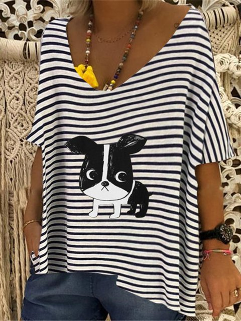 Casual Striped V-neck Dog Printed Short Sleeve Shirt