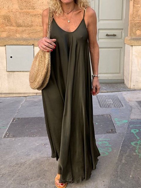 Women Summer Solid Spaghetti-Strap Maxi Dresses V Neck Daily Dresses