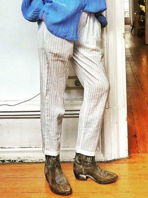 Paneled Casual Striped Pants