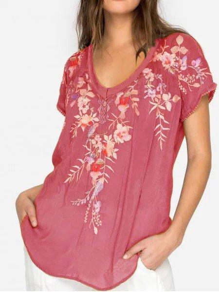 V Collar Short Sleeve Floral Shirts Blouses