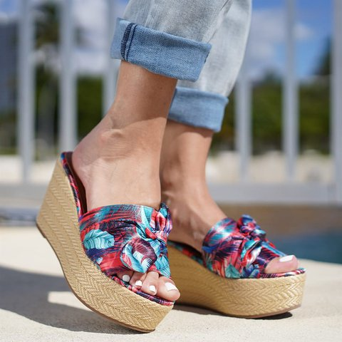 Slip-On Floral Bowknot Espadrille Wedge Sandals