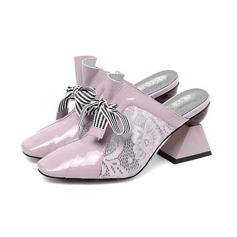 Date Bowknot Lace Square Toe Special Heel Sandals