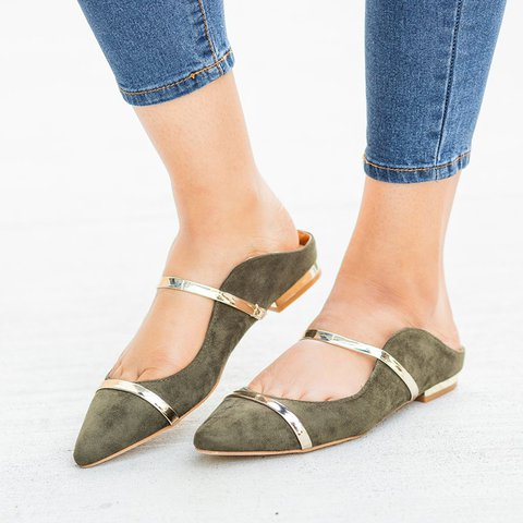 Gold Accented Designer Mule Flats Slip-On Closed Toe Sandals