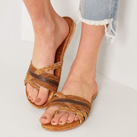 Brown Flat Heel Summer Slippers Flip-flops Casual Slide Sandals