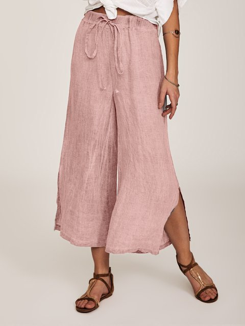 High-rise Lace Up Solid Work Cotton-blend Lightweight Pants
