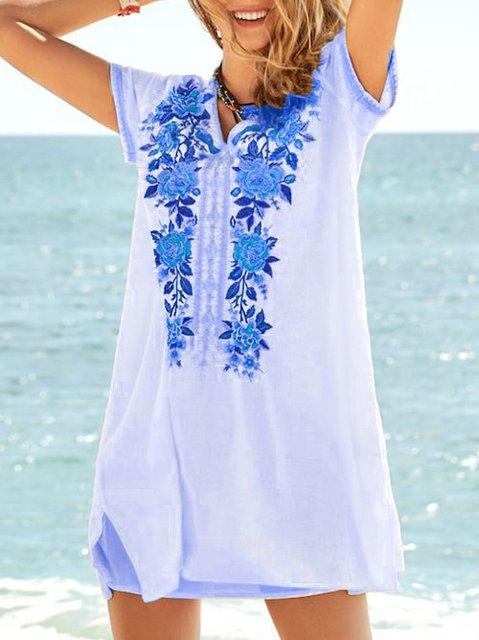 Cotton-Blend Short Sleeve Casual Dresses