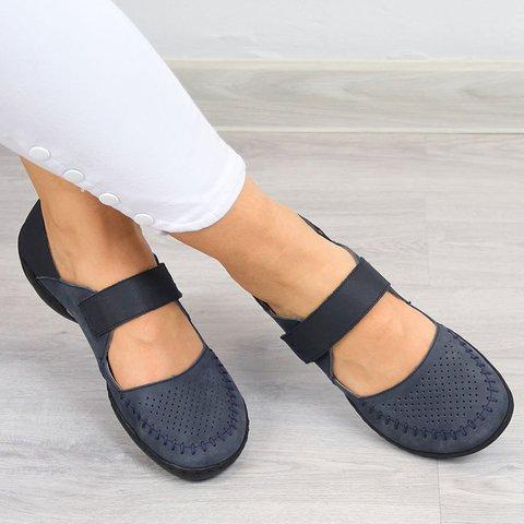 Women Casual Summer Hollow Out Magic Tape Flat Sandals