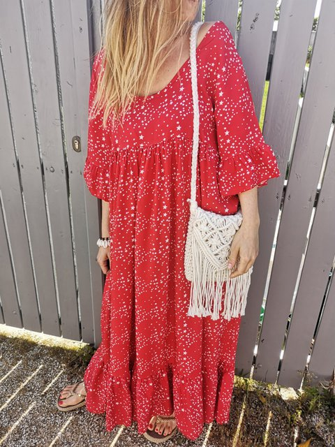 Plus Size Print Tribal Women Vacation Maxi Dresses