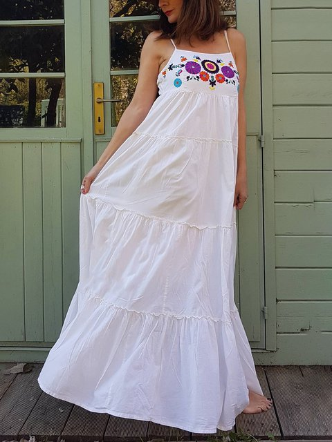 Long Boho Dress Women's Flowers Embroidered Beach Dresses