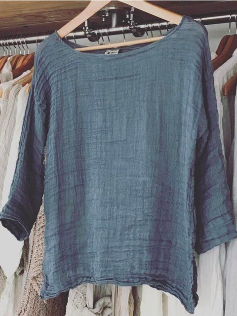 Plus Size Casual Solid 3/4 Sleeve Cotton Tops