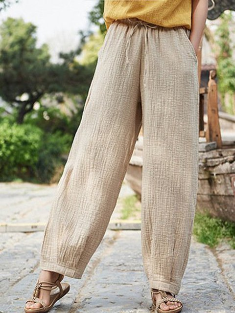Plus Size Linen Women Loose Pants With Pockets