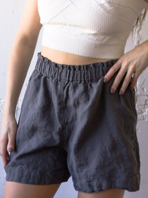 Plus Size LInen Women Loose Summer Pants Shorts