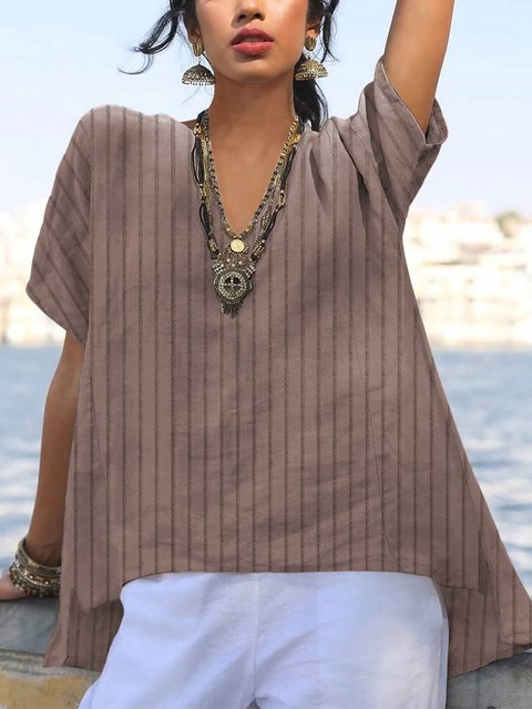 Solid Stripe Short  Sleeve Casual Top