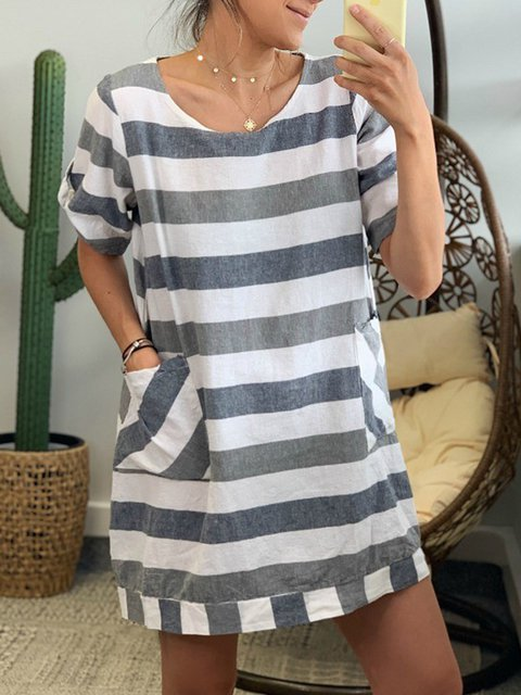 Plus Size Stripes Linen Women Mini Dresses With Pockets