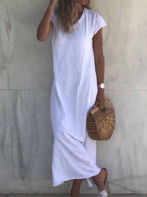 Casual V Neck Short Sleeve Solid Dresses