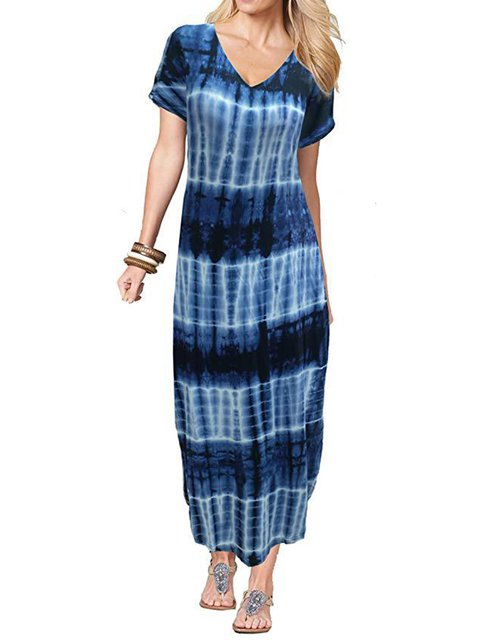 0eeb7cfd97 Plus Size Tie-Dye V-Neck Short Sleeves Casual Maxi Dresses ...