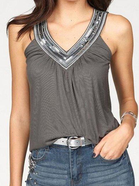 Plus Size Women Tops Sequin Sleeveless V-Neck Tanks