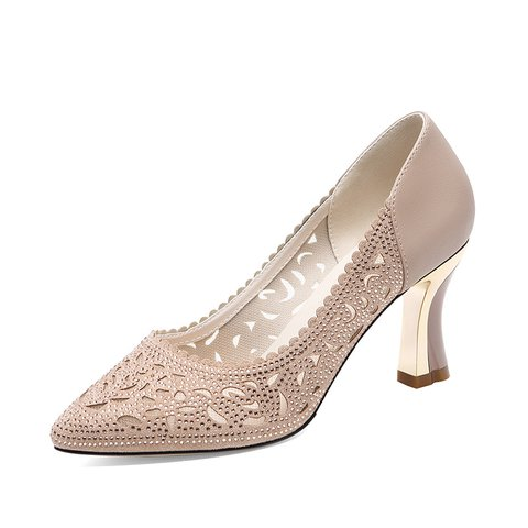 Sweet Hollow-out Chunky Heel Shiny Pumps