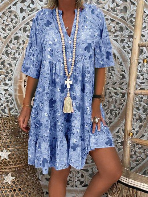 V Neck Women Summer Dresses Abstract Dresses