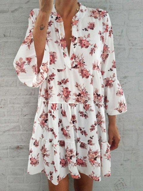 Floral Frill Sleeves V-Neck Paneled Dresses