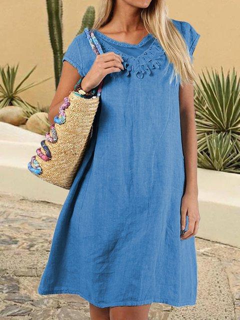 Cape Sleeves Round Neck Paneled Dresses