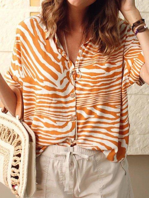 Women Zebra Print Shirt Collar Buttoned Casual Shirts