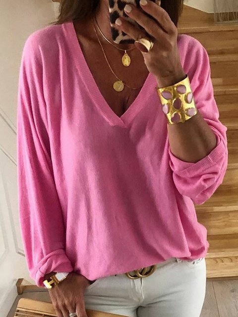 V-Neck Long Sleeves Solid Casual T-Shirts