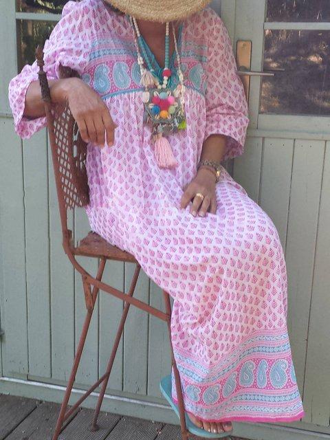 Women Printed Dress V-Neck Tribal Maxi Dresses