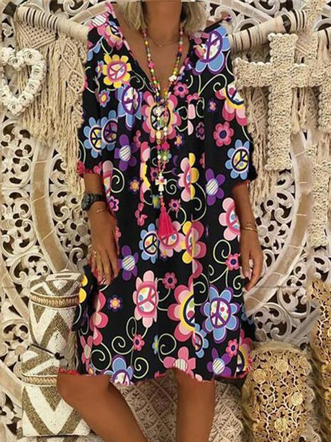 V Neck Women Dresses A-Line Beach Paneled Floral Dresses