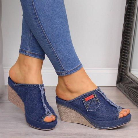 Women Slip-on Peep Toe Wedge Canvas Sandals