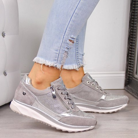 Women's Low Heel Lace Up Sneakers