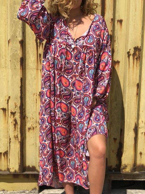 Plus Size Print Vintage Women Maxi Dresses