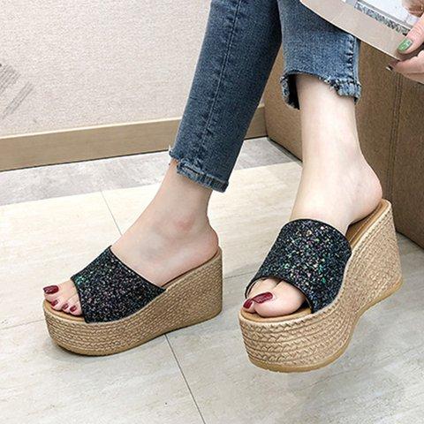 Women Metallic Wedges Platform Slippers