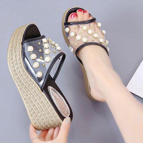 Women Beading Platform Wedge Slippers