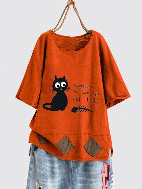 Cartoon Print Cat Fish Bone Short Sleeve Cute T-Shirt