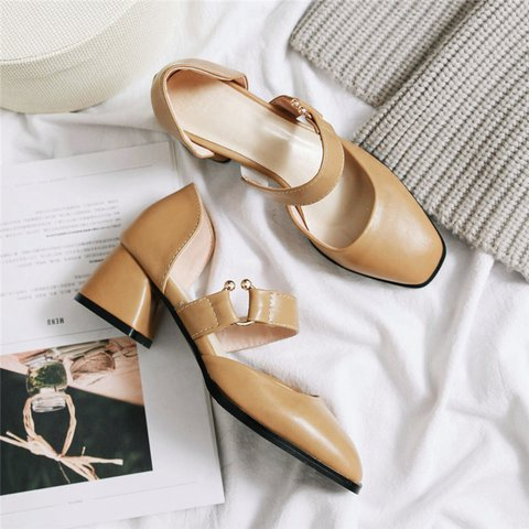 Date Casual Square Toe Chunky Heel Pumps Sandals
