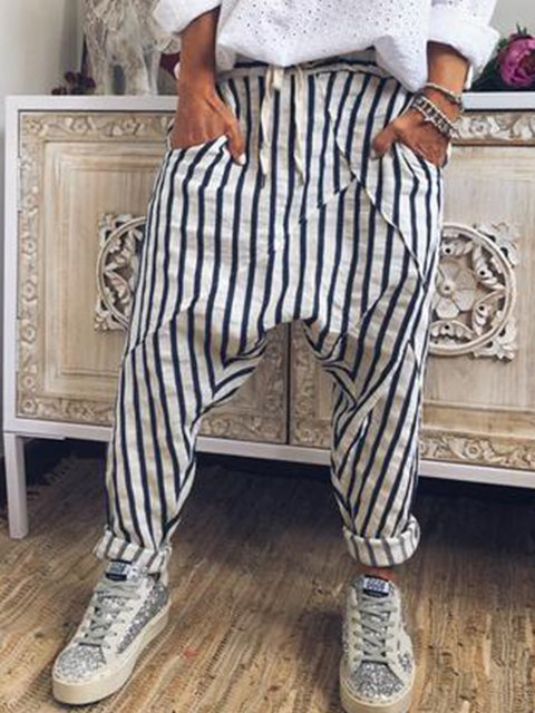 White-Black Casual Cotton-Blend Striped Pants