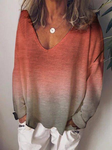 Printed Long Sleeve V Neck Shirts