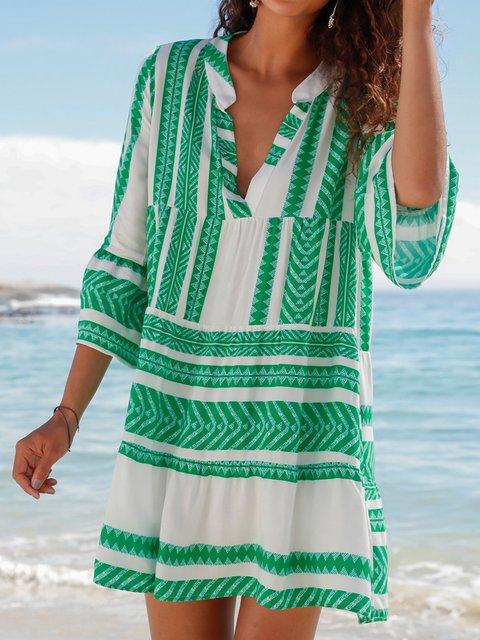 V Neck Women Dresses Going Out Beach Tribal Dresses