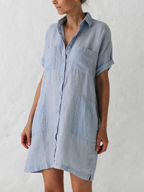 Plus Size Women Solid V Neck Cotton Short Sleeveless Loose Casual Shirt Dresses