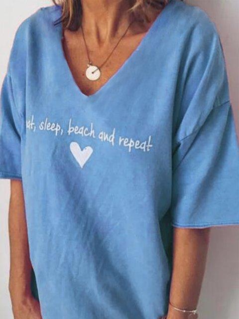 Casual Short Sleeve V Neck Cotton-Blend Shirts & Tops